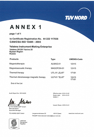 Annex I to CAN/CSA ISO 13485 : 2003